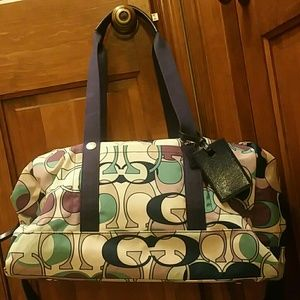 Authentic Coach printed travel duffle bag